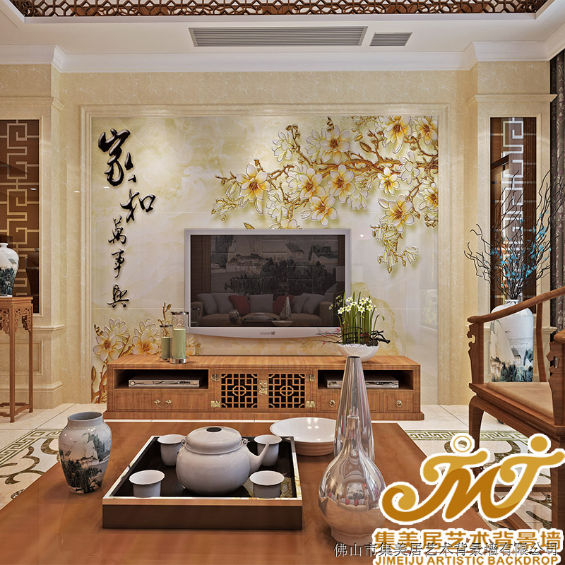 集美居瓷砖背景墙 客厅电视背景墙